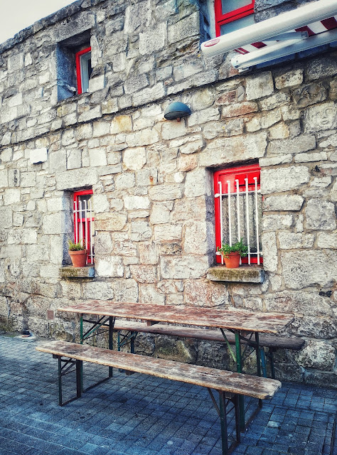 stone house, bench, Galway
