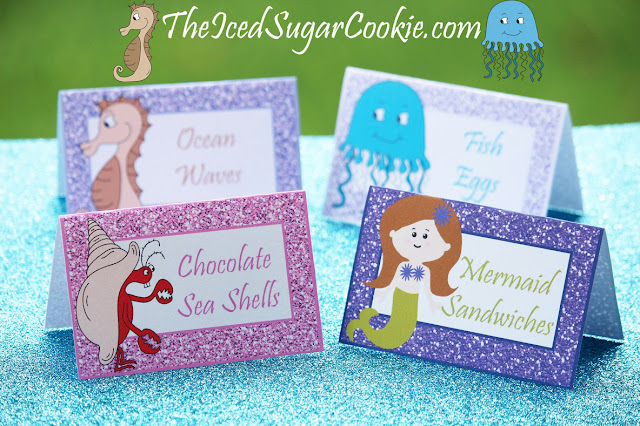 DIY Mermaid Under The Sea Birthday Party Printables-Food Label Tent Cards, Cupcake Toppers, Flag Garland Hanging Banner-Purple Glitter Digital Download Template-Seahorse, Jellyfish, Hermit Crab