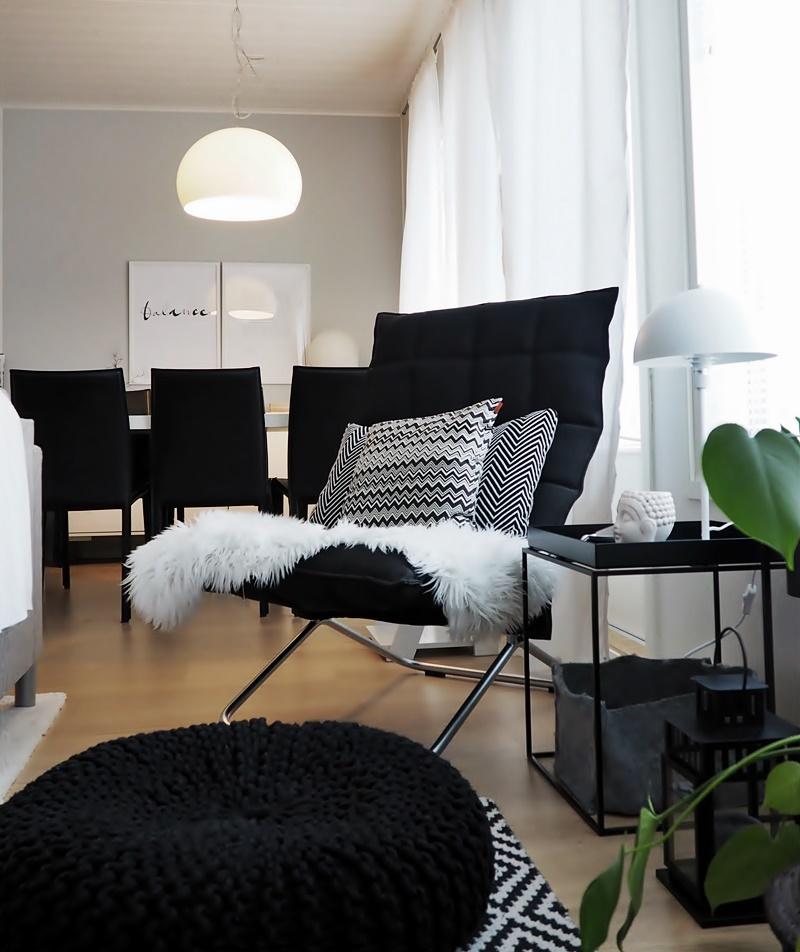 mustavalkoinen olohuone