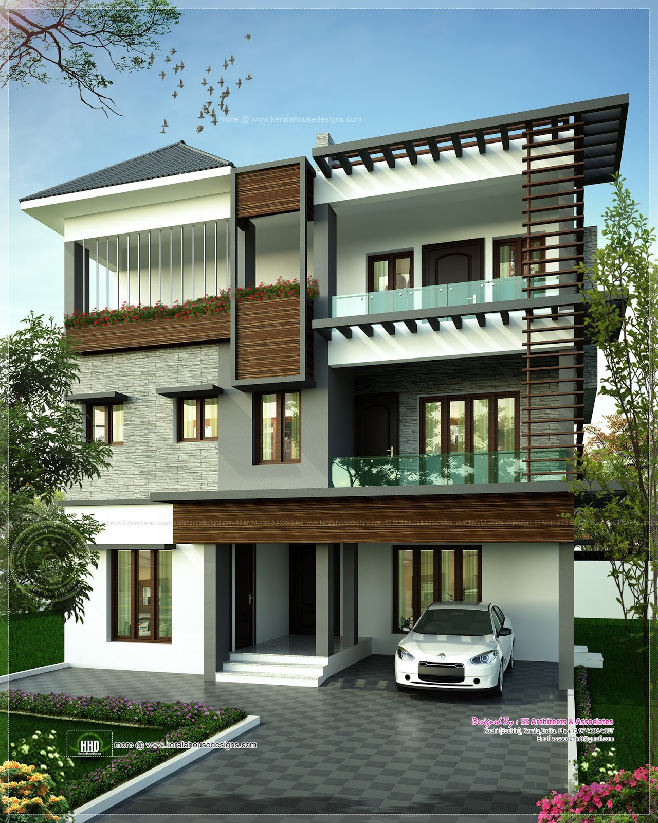 August 2013 kerala home design and floor plans for House elevation for three floors building