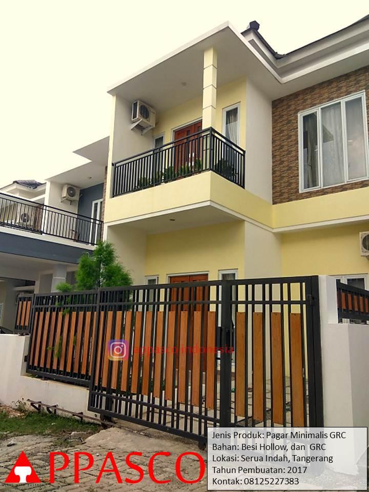 Pagar Minimalis Hollow GRC di Serua Indah Tangerang