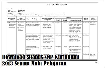 Download Silabus SMP Kurikulum 2013 Semua Mata Pelajaran