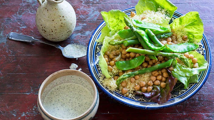 Couscous, asparagus and chickpea salad recipe