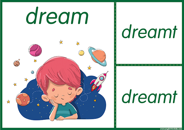 Irregular verb dream - printable ESL flashcards