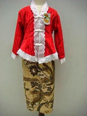 Baju Kebaya Merah Putih Batik Model Baru