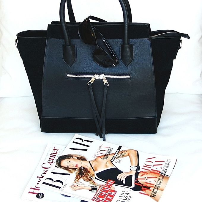 Black totes and bags and black sunglasses, fashion photos