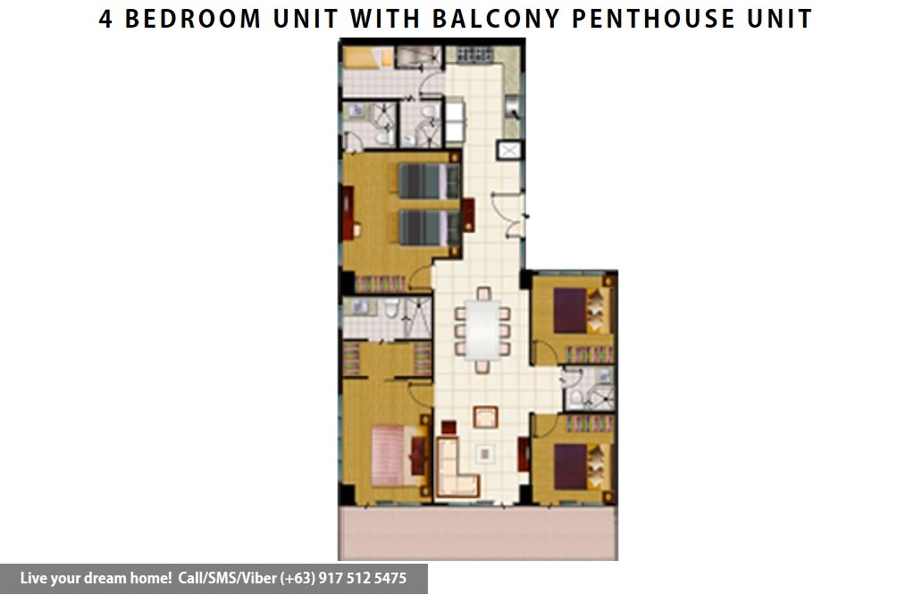 Floor Plan of SMDC Wind Residences - 4 Bedroom Penthouse Unit | Condominium for Sale Tagaytay Cavite