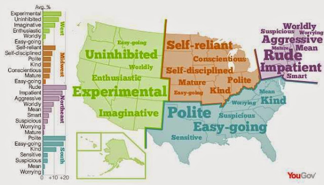 USA personality stereotype map