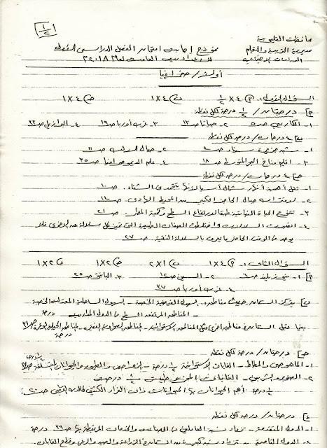 نماذج اجابات امتحانات الشهادة الاعدادية