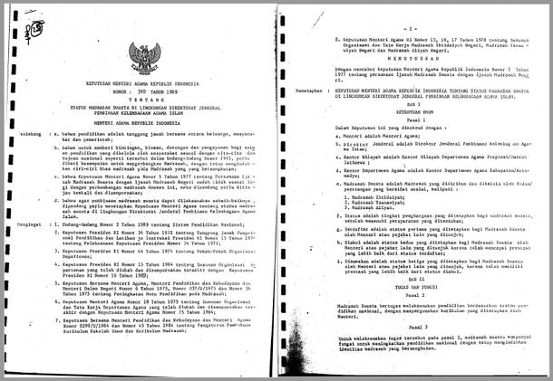 Keputusan Menteri Agama Republik Indonesia Nomor 310 Tahun 1989