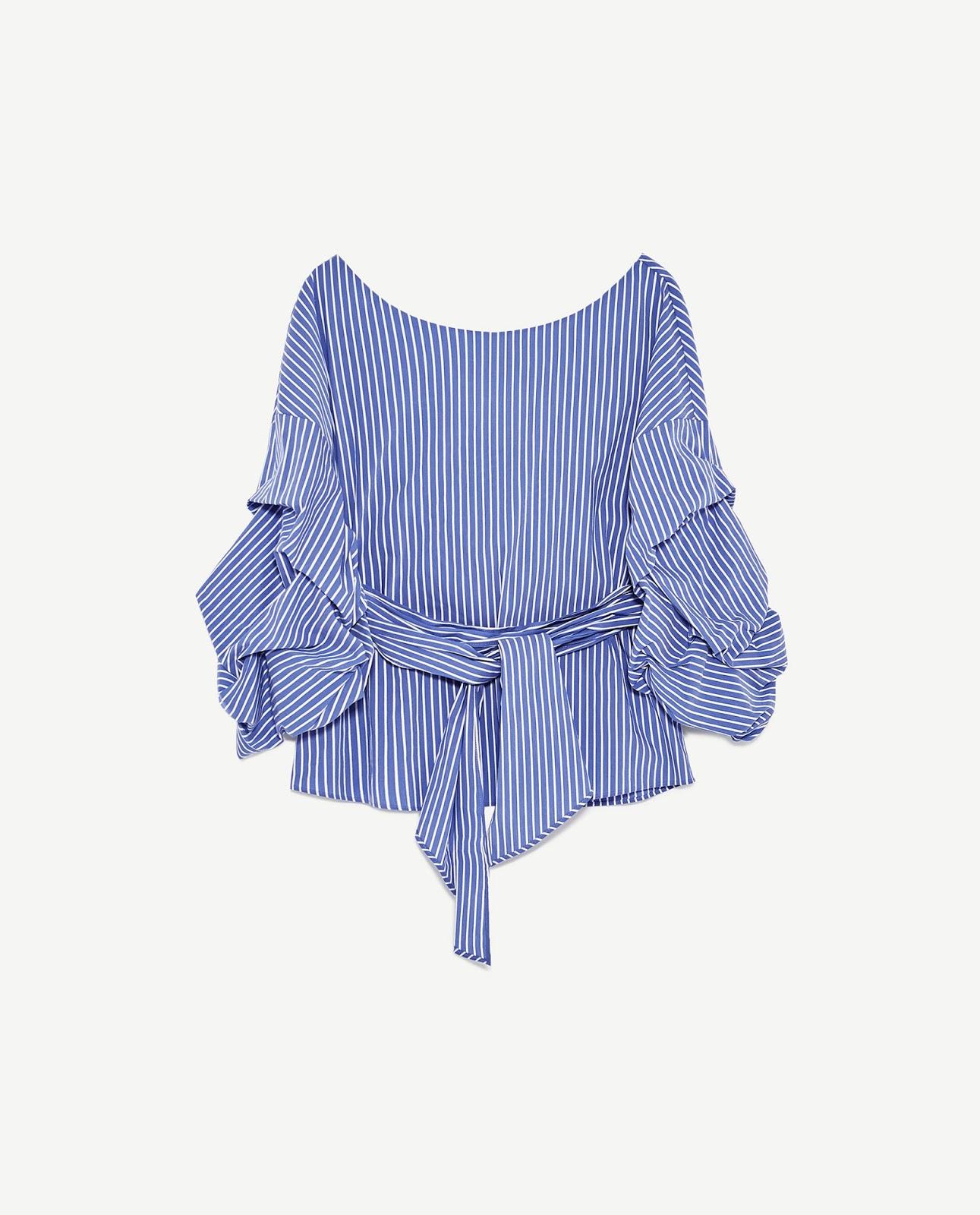ZARA niebieska koszula w paski, falbany, trendy 2017, co kupić na wyprzedaży w Zarze