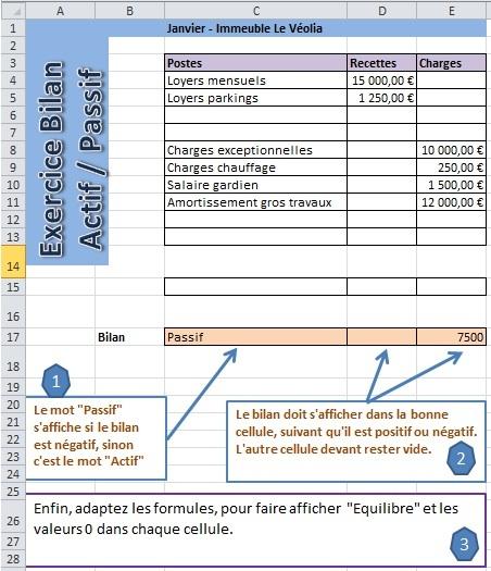 Word Excel Photoshop Excel Exercice Bilan Actif Passif