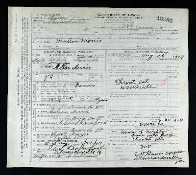 Houston Morris 1870-1929 Death Certificate https://jollettetc.blogspot.com