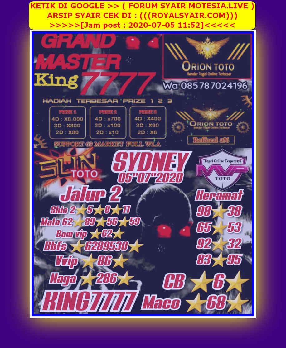 Kode syair Sydney Minggu 5 Juli 2020 19