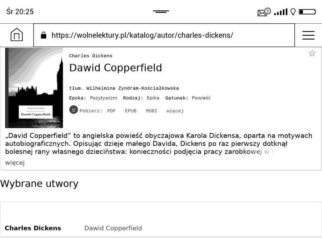 Wolnelektury.pl w przeglądarce na PocketBook Touch HD 3