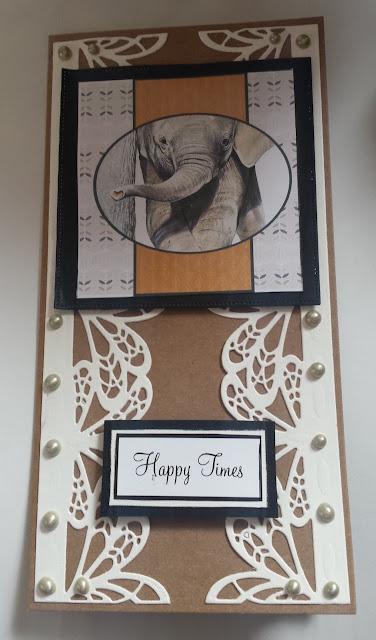 Happy Times - baby elephant (Pollyanna Pickering) Kraft DL card