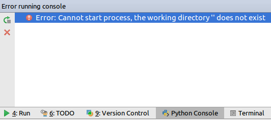 Error: Cannot start process, the working directory does not