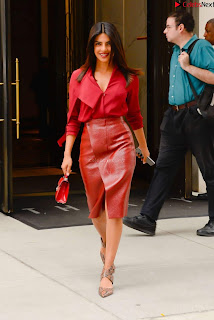 Priyanka Chopra in Red Leather Jacket ~ .xyz Exclusive 008