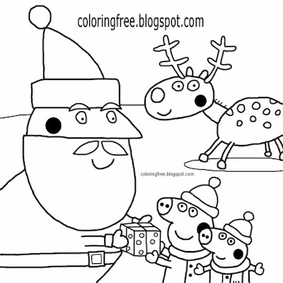 Charming red nose reindeer with Santa Claus cartoon Peppa pig Christmas colouring pages to colour in