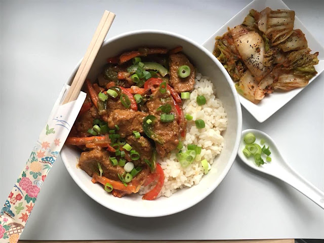 vegan bulgogi with homemade seitan