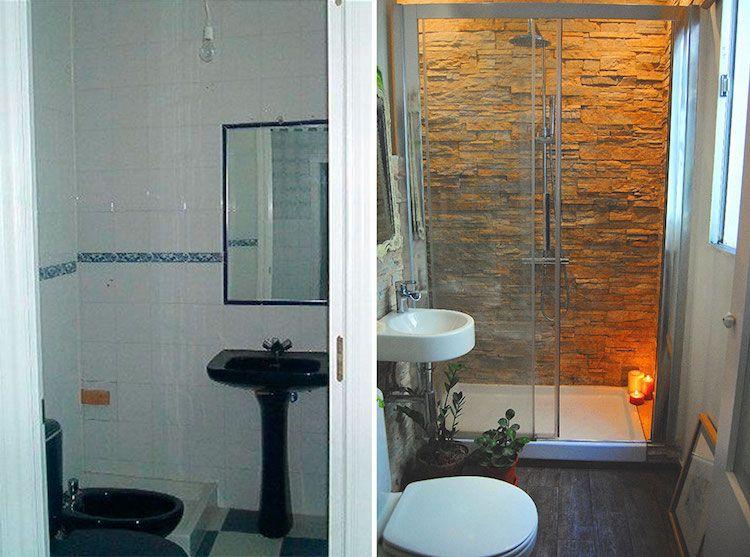 antes y después de un baño muy pequeño DIY