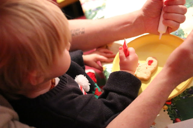cookie decorating at Hamleys Christmas party in Cardiff