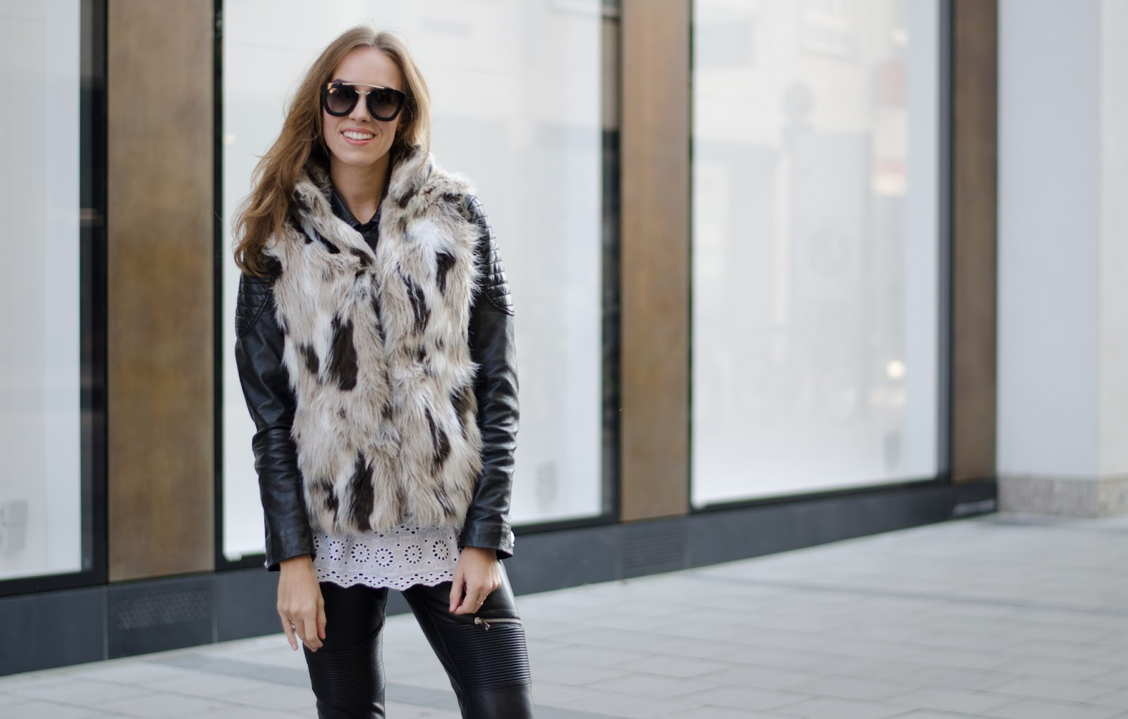 kristjaana mere zara faux fur vest barneys leather jacket prada cinema sunglasses fall outfit