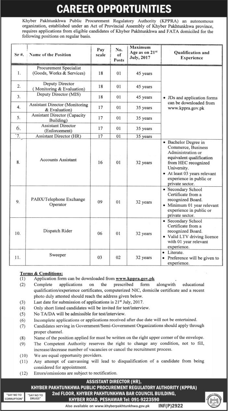 Jobs in KPK Public Procurement Regulatory Authority  17th June 2017