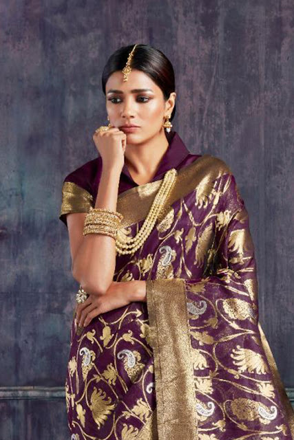 4b45ec8f3174a4 Wholesale Indian Festival Wear Silk Weaved Work Saree With Blouse Piece  From LKFABKART.