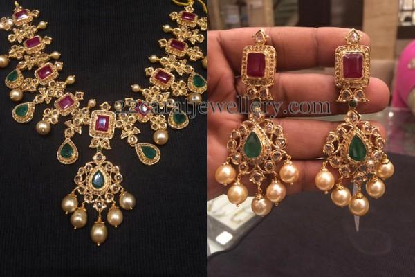 Uncut Diamond Set Earrings Jewellery Designs