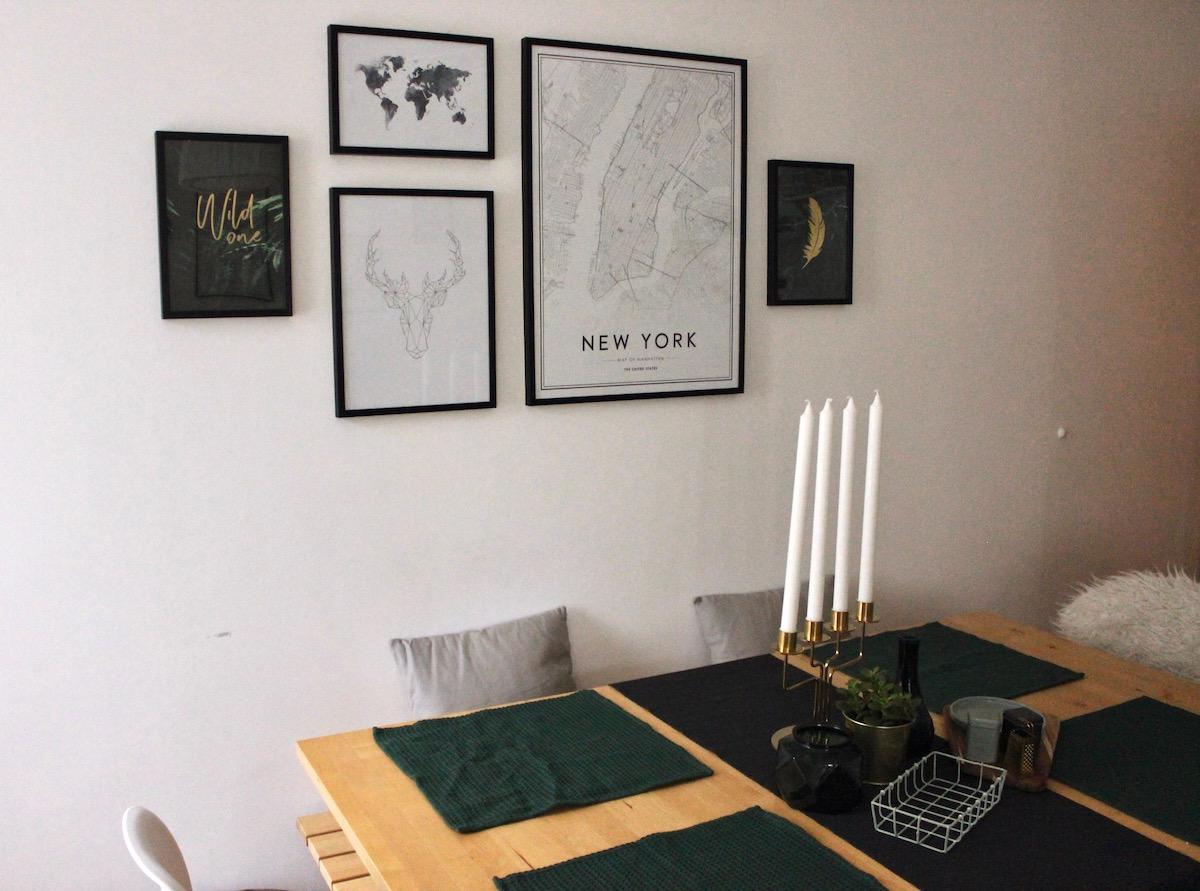 Interior Inspiration Desenio Poster Living Room Forest Green Gold Deko Sostrene Grene Wohnzimmer
