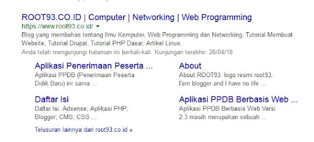 Contoh sitelink