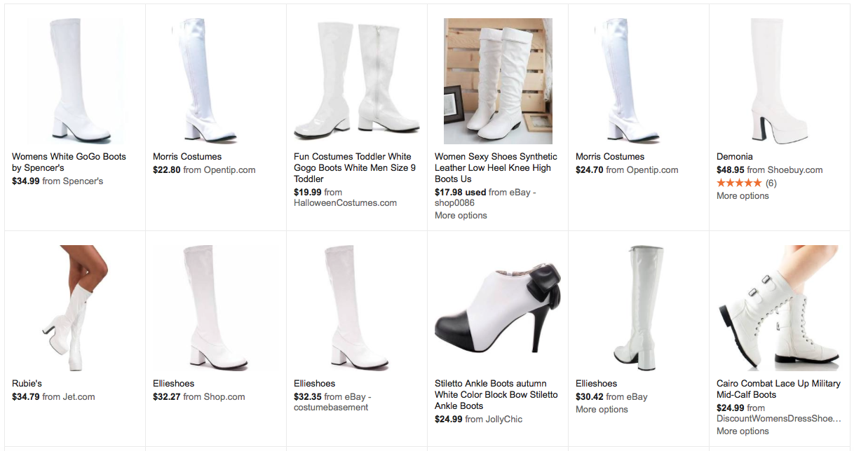7e01a725c19 Let's say you're just looking for knee-high white go-go boots. Starting  with Google Shopping, we'll search for