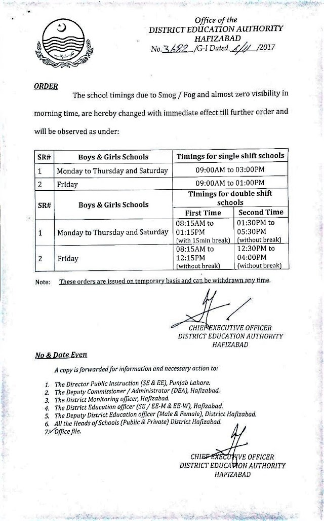 SCHOOLS TIMINGS DUE TO SMOG / FOG