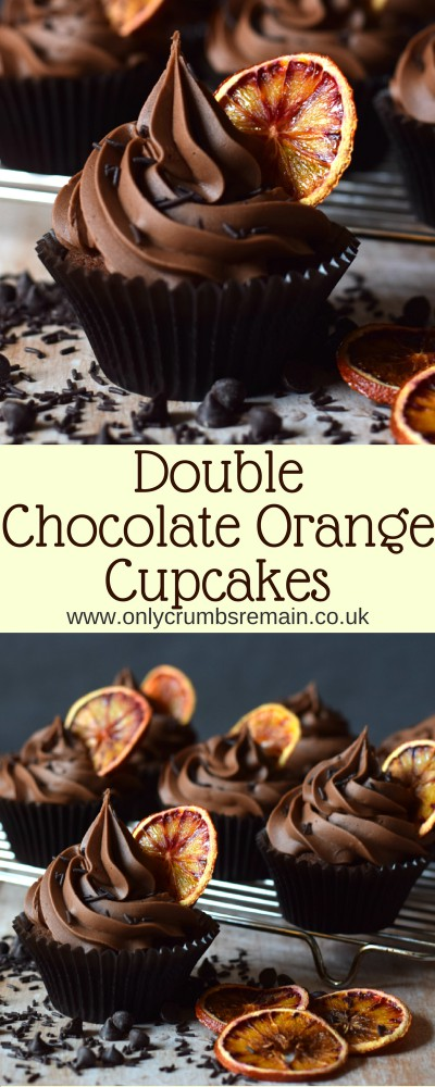 How to make Double Chocolate Orange Cupcakes containing real chocolate in both the cake batter and chocolate buttercream frosting.  The cupcakes are finished with an oven dried slice of orange.i
