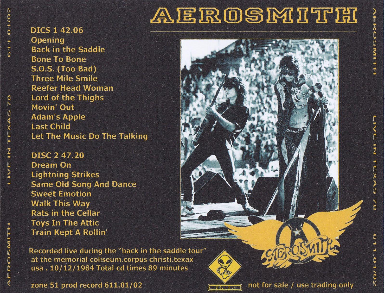 Aerosmith Bootlegs Cover Arts Liive In Texas 84 Corpus