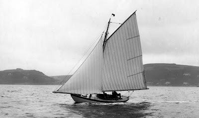 Old Photograph Racing Yacht River Clyde Scotland