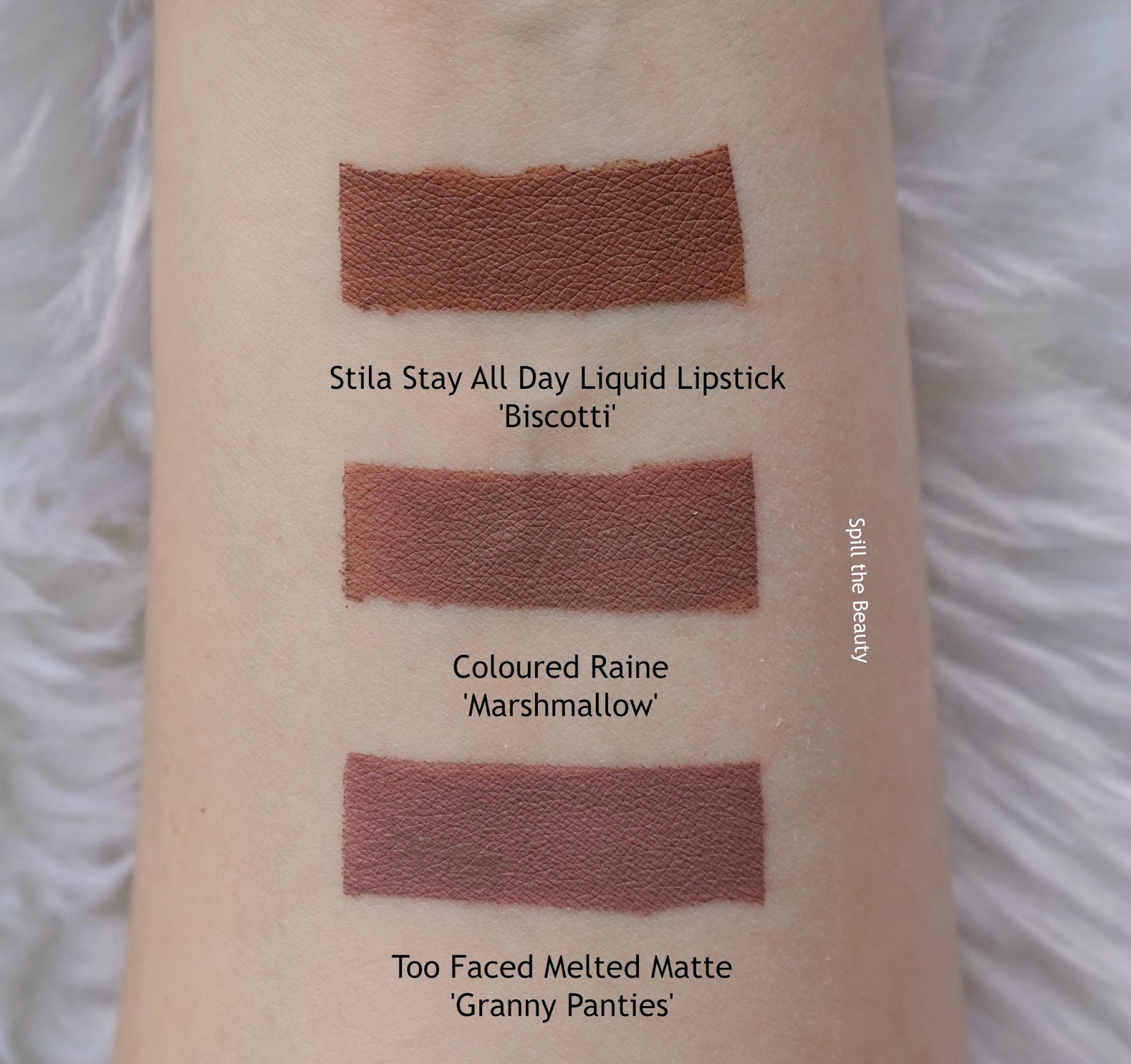 lip swatch coloured raine comparison dupe stila biscotti too faced granny panties