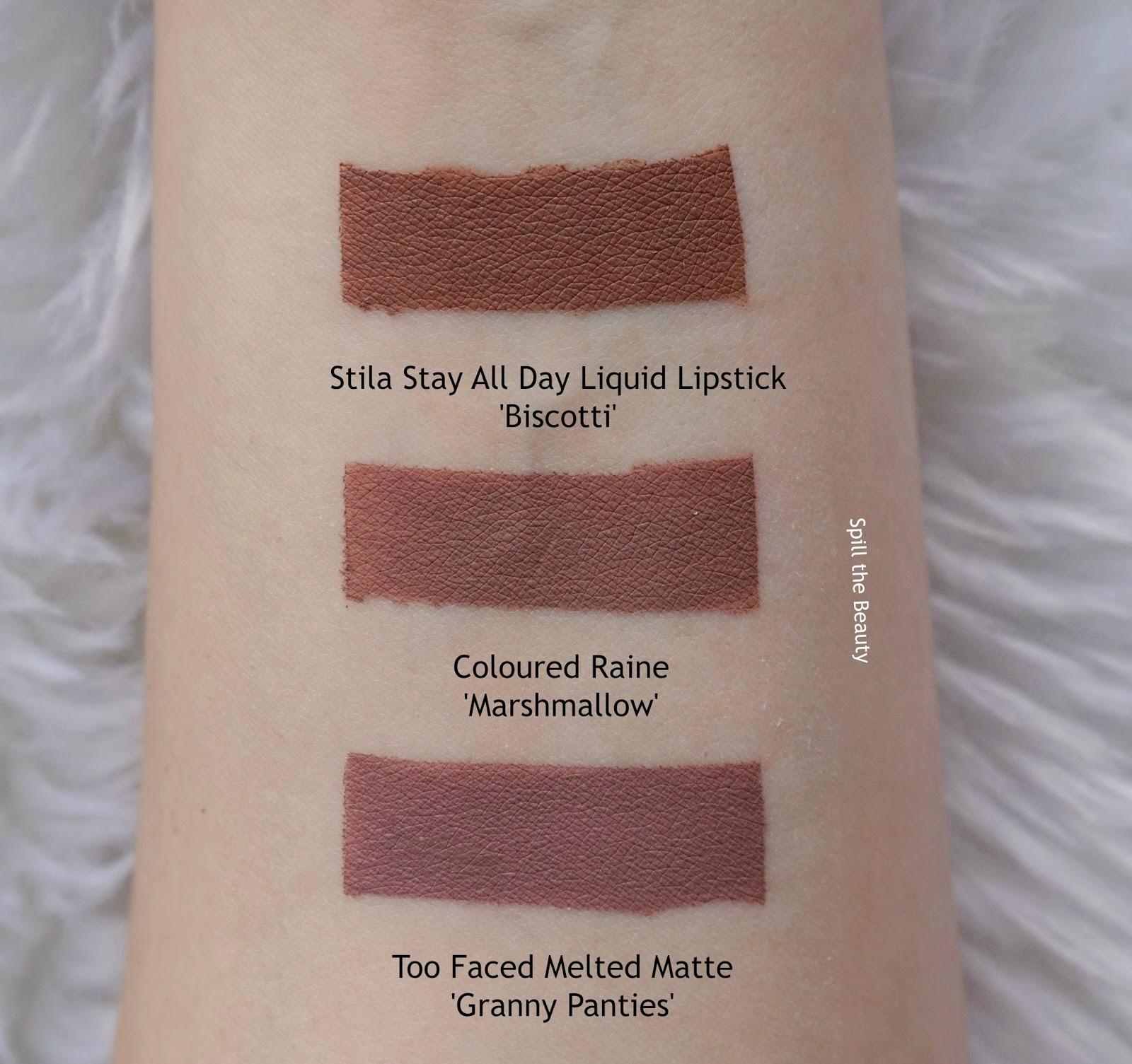 lip swatch coloured raine comparison dupe stila biscotti too faced granny panties