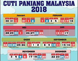 JADUAL CUTI CUTI MALAYSIA 2018