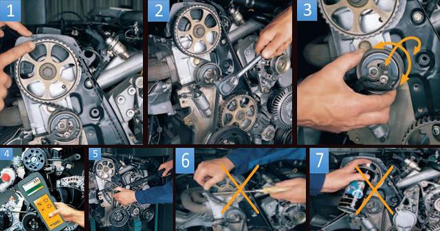 التغيير الصحيح لـ حزام التوقيت و ضبط حزام التوقيت من أجل التشغيل الأمثل لسير المحرك.
