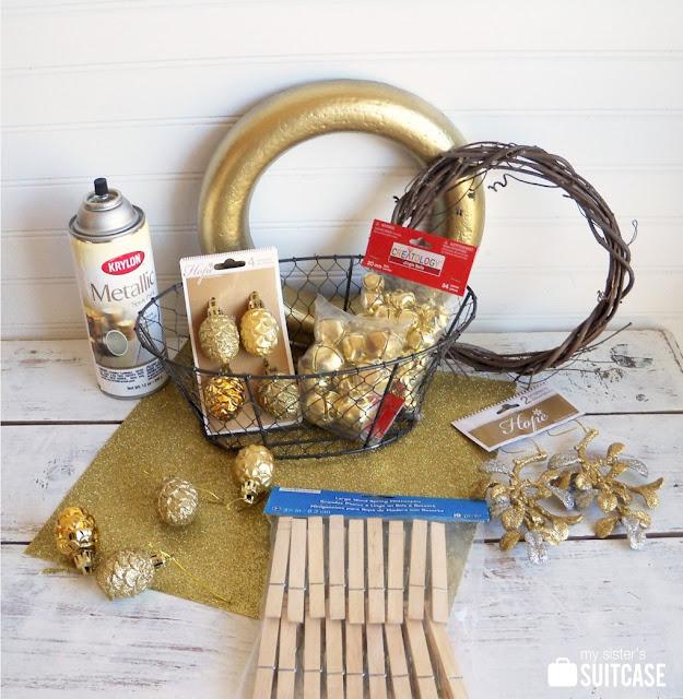 Quick Diy Dollar Tree Bathroom Decor 2 For 5 Youtube: Five Gold Rings {Christmas Wreaths}