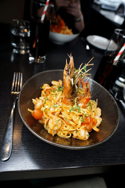 Prawn linguine main at OBIA restaurant in Purley