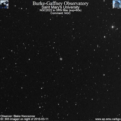 green filter photograph of planetary nebula NGC 2022