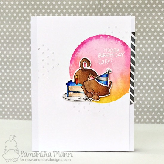 Cat and cake Birthday card by Samatha Mann   Newton Loves Cake Stamp Set by Newton's Nook Designs