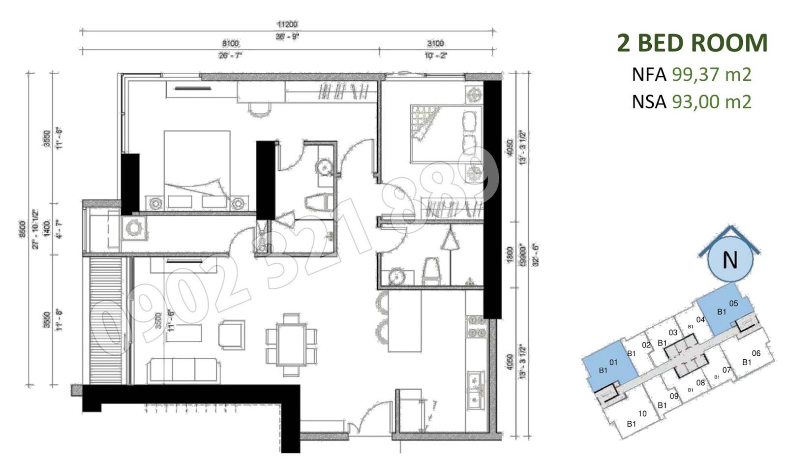 mặt bằng căn hộ sunwah pearl 2 phòng ngủ B1-01 và B1-05