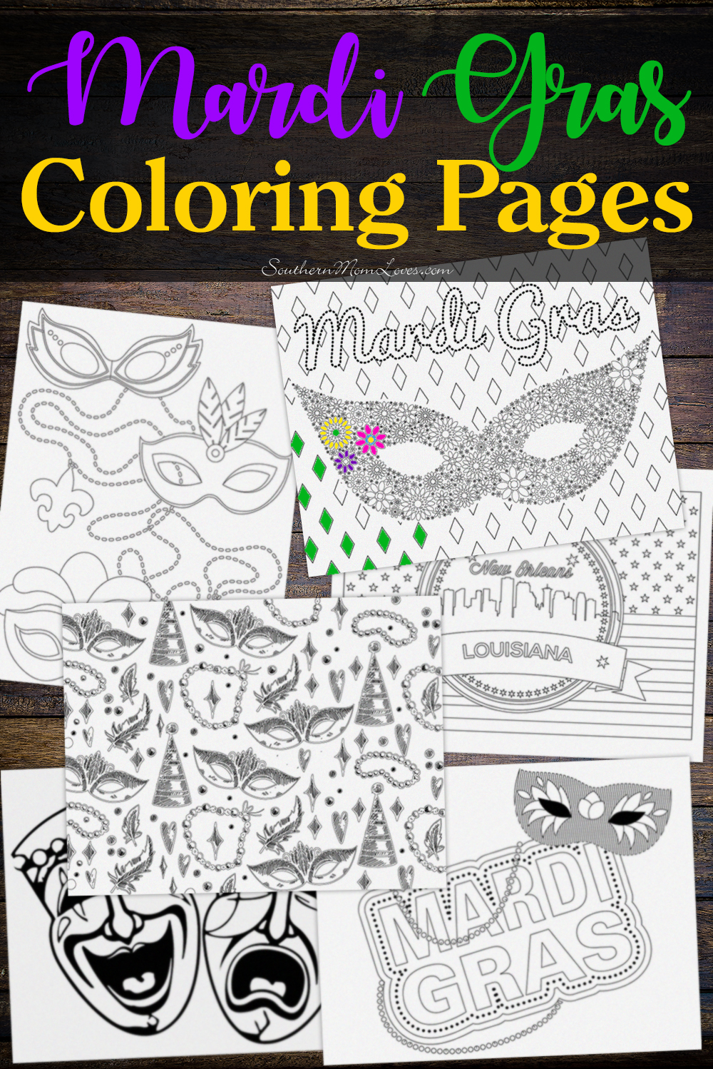 Southern Mom Loves Mardi Gras Adult And Kid Coloring Pages