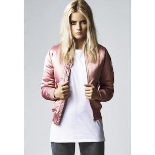 chaqueta bomber mujer rosa satin