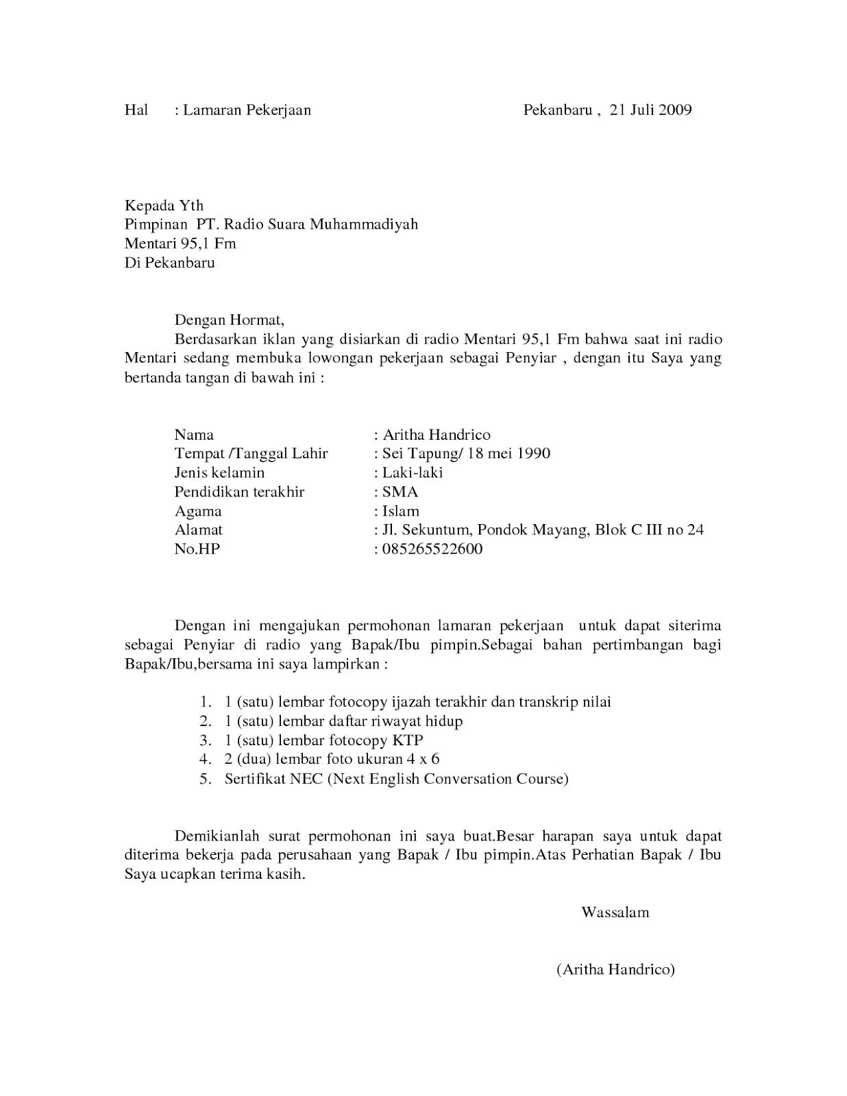 Contoh Surat Lamaran Kerja Karyawan Toko Paling Benar Rumahspesifikasi Com