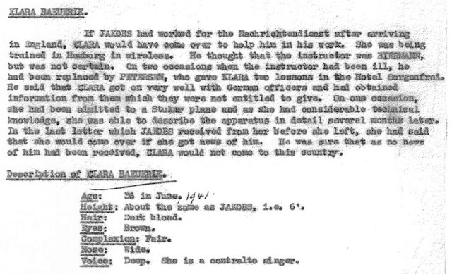 July 8, 1941 - KV 2/26 - 101 - Summary Report on Josef Jakobs by Lt. Sampson on Clara Bauerle.
